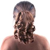 馬尾假髮韓系馬尾假髮隱形自然女士短捲髮逼真假髮片爪抓夾式短版梨花捲馬尾辮