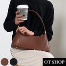 [現貨] 側肩背 手提 法棍包 腋下包 韓系復古純色質感皮革 黑/棕色 H2038 OT SHOP