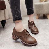 韓版時尚英倫風小皮鞋學生休閒鞋復古圓頭單鞋女鞋