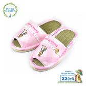 【クロワッサン科羅沙】Peter Rabbit TP斜格釦草蓆室內拖鞋 (粉22CM)