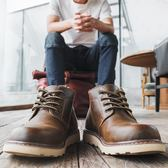 馬丁靴男鞋潮中幫雪地棉鞋男靴子高幫英倫風工裝短靴【潮男街】