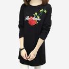 春秋新款玫瑰刺繡寬鬆圓領長袖長版上衣洋裝...