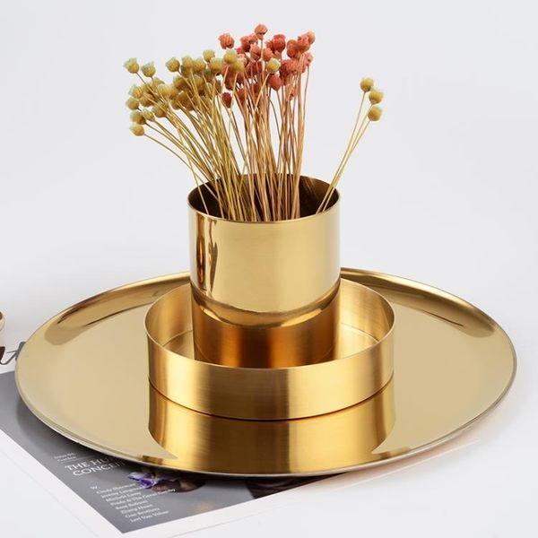 金色花瓶 ins風 北歐丹麥黃銅色 圓形筆筒 金屬插花器 收納筒擺件   LannaS