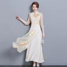 越南旗袍洋裝 春款中國風復古女裝中式修身改良旗袍奧黛上衣茶服七分袖連身裙