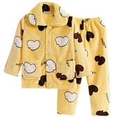 兒童法蘭絨睡衣秋冬季女童小孩寶寶珊瑚絨套裝男孩男童加厚家居服