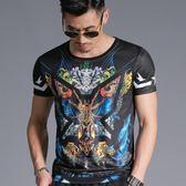 短袖男T恤 潮流上衣 韓版休閒 夏季中國風印花圓領短袖修身個性T恤小衫男wx3447