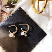 耳環 雙層 金屬 圓環 珍珠 鏤空 方形 吊墜 甜美 耳釘 耳環【DD1812103】 ENTER  03/07