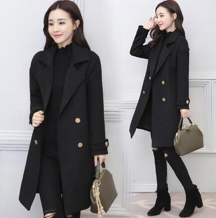 【現貨31】毛呢外套 韓國長版上衣 韓版學生寬鬆黑色呢子大衣 排扣風衣外套S M L~黑色