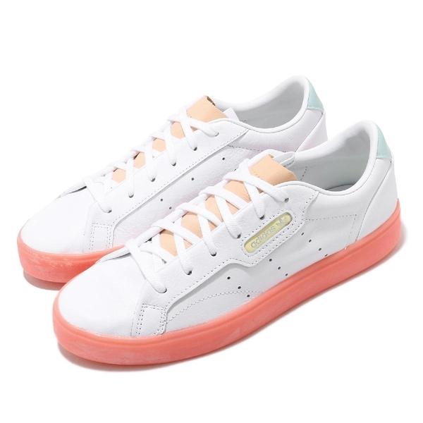 【五折特賣】adidas 休閒鞋 Sleek W 白 粉橘 女鞋 休閒鞋 三葉草 小白鞋 【ACS】 FW5463