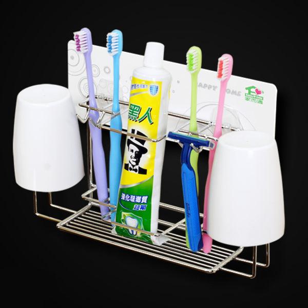 【家而適】牙刷牙膏漱口杯壁掛放置架 浴室 無痕 牙刷架 漱口杯架