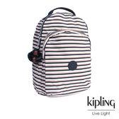 Kipling 簡約條紋密橙後背包-大