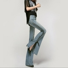 開衩綁帶喇叭牛仔長褲寬褲女(2色)歐美大碼修身顯瘦長褲【SX1351】