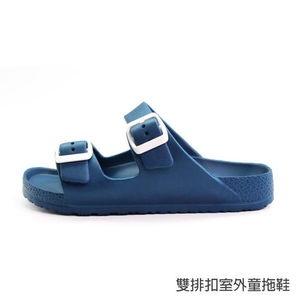 【333家居鞋館】兒童款★雙排扣室外童拖鞋-白色