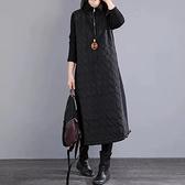 保暖鋪棉半拉鍊素色洋裝-中大尺碼 獨具衣格 J3452
