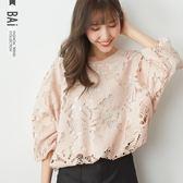 上衣 鏤空棉蕾絲花朵下束後綁上衣-BAi白媽媽【190046】