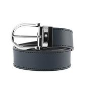 【MONT BLANC】馬蹄形亮面精鋼針式雙面可用皮帶(黑色/藍色) 128784