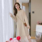 針織洋裝長袖針織洋裝女裝秋冬季年新款洋氣寬鬆中長款過膝毛衣裙子 雙12全館免運