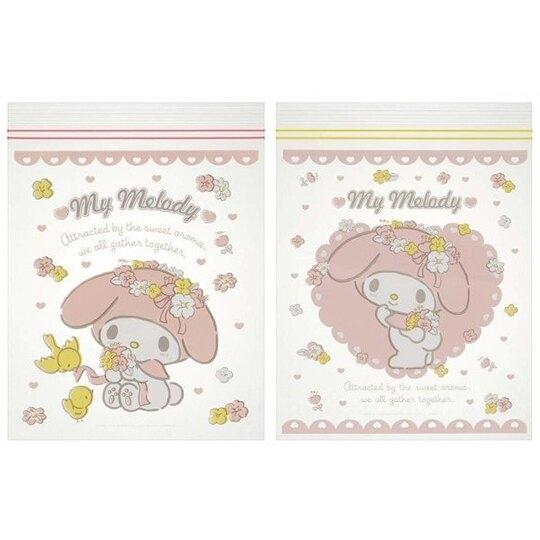 小禮堂 美樂蒂 夾鏈袋 密封袋 分類袋 透明袋 收納袋 方形透明 (20入 粉 花朵) 4973307-47038