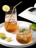 北歐簡約印花英文字母玻璃杯飲料杯創意牛奶杯果汁杯早餐