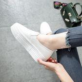 韓版新款樂福鞋學生小白鞋鬆糕底鞋子女懶人鞋厚底一腳蹬單鞋女鞋 【PINKQ】