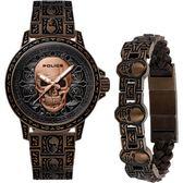 【台南 時代鐘錶 POLICE】義式潮流 骷髏圖騰強烈風格腕錶 手環套組 15530SKQBZ-SET2 古銅色 46mm