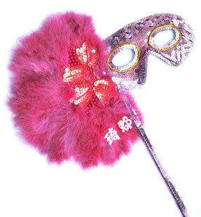 手持珠片棒粉色羽毛面具