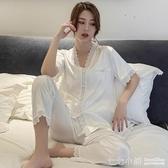 冰絲睡衣女士夏季韓版短袖長褲兩件套裝薄款真絲綢性感夏天家居服