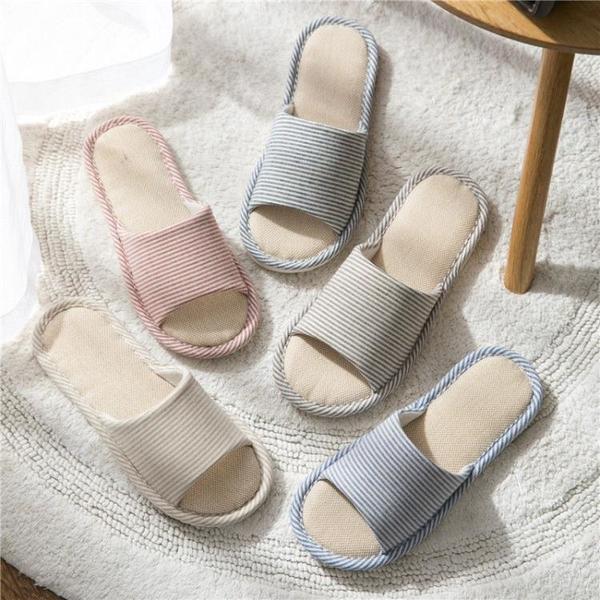 亞麻拖鞋女夏春秋四季日式家居家用情侶室內防滑地板