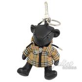 茱麗葉精品【全新現貨】BURBERRY Thomas 風衣造型泰迪熊鑰匙圈吊飾.黑