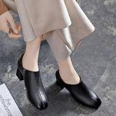 粗跟單鞋女秋季新款中跟方頭深口皮鞋女真皮高跟工作鞋女黑色—聖誕交換禮物