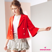 【SHOWCASE】優雅OL氣質荷葉袖俏麗西裝小外套(紅)