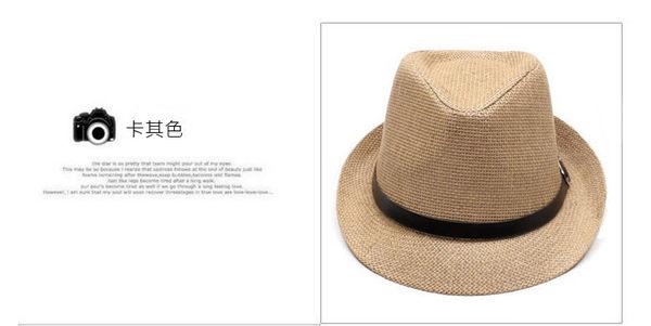 梨卡★現貨 - 男生款。沙灘防曬草帽/英倫帽爵士帽/編織帽遮陽帽/軍帽禮帽C07