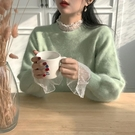 蕾絲網紗洋裝 長袖蕾絲打底衫女內搭小衫2020春秋新款百搭荷葉邊網紗白色上衣仙 芊墨左岸