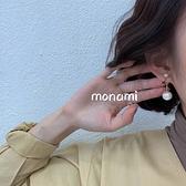 耳釘 星星珍珠銀針耳釘Mon-0261-創翊韓都