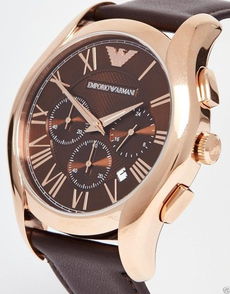 【靚靚小舖】美國代購 EMPORIO ARMANI亞曼尼 潮流時尚真皮石英腕錶男錶AR1701