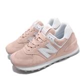New Balance 休閒鞋 NB 574 粉橘 白 女鞋 運動鞋 復古慢跑鞋 麂皮 【PUMP306】 WL574OABB