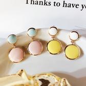 耳環 簡約 撞色 幾何 圓形 吊墜 拼接 甜美 氣質 耳釘 耳環
