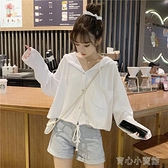 連帽t恤 秋季新款女裝白色t恤女長袖日系古著小個子顯高短款上衣女設計感 新年特惠
