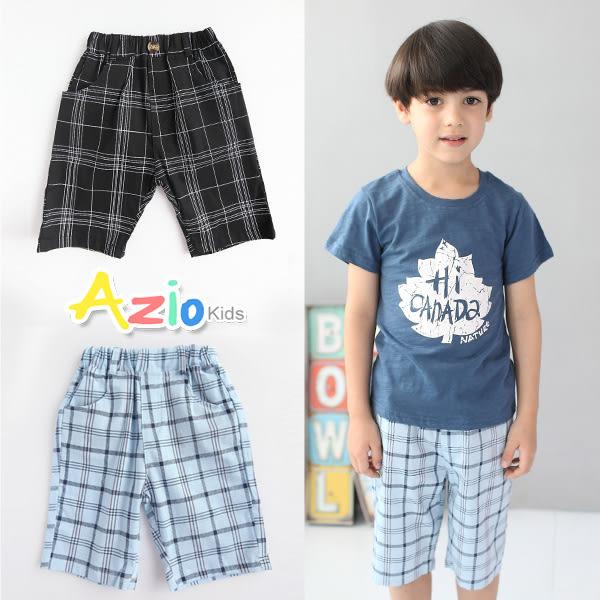 Azio 童裝 短褲 多格線鬆緊/粗線現格紋口袋短褲(共2款)