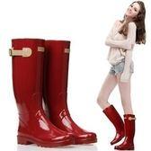 雨靴雨鞋機車搭扣純色高筒時尚雨鞋雨靴女鞋.....現加預...流行線