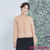 Red House 蕾赫斯-優雅小香風滾邊外套(粉色)