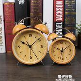 鬧鐘創意床頭靜音鐘表鐵藝復古個性台鐘學生迷你時尚帶夜燈 igo陽光好物