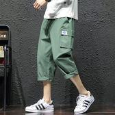 工裝褲夏季新款薄款七分褲男直筒寬鬆緊腰大碼7分休閒大碼潮牌工裝短褲 coco衣巷