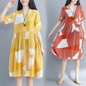 初心 棉麻 洋裝 【D7154】 幾何 線條 條紋 寬鬆 短袖 加大 輕薄 洋裝