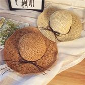 夏季手工鉤針草帽子女士大沿鏤空遮陽帽可折疊防曬大檐太陽沙灘帽