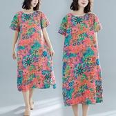 洋裝 連身裙 民族風中大尺碼 女夏裝新款短袖印花復古文藝mm寬鬆棉麻中長款連衣裙 新年特惠