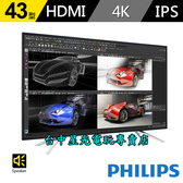 【PS4 PRO 繪圖 電競專用 4K】 PHILIPS 飛利浦 43吋 高階電腦液晶顯示器 螢幕 【台中星光電玩】