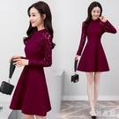 中大尺碼改良旗袍 新款長袖蕾絲洋裝韓版鏤...