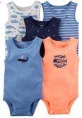 Carter's 包屁衣  繽紛海洋圖案無袖包屁衣5件組