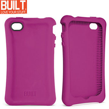 【A Shop】 BUILT NY IPhone 4 Erogonomic Soft Case 矽膠保護套(A-PH4S-RSB)-覆盆子紫